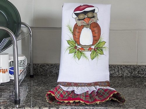 Arte Brasil | Pintura em tecido tema coruja de natal - Neusa Guidoni