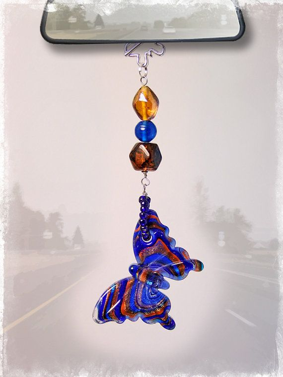 Butterfly Car Charm  Rear View Mirror Car by OurBeadBox on Etsy, $15.00