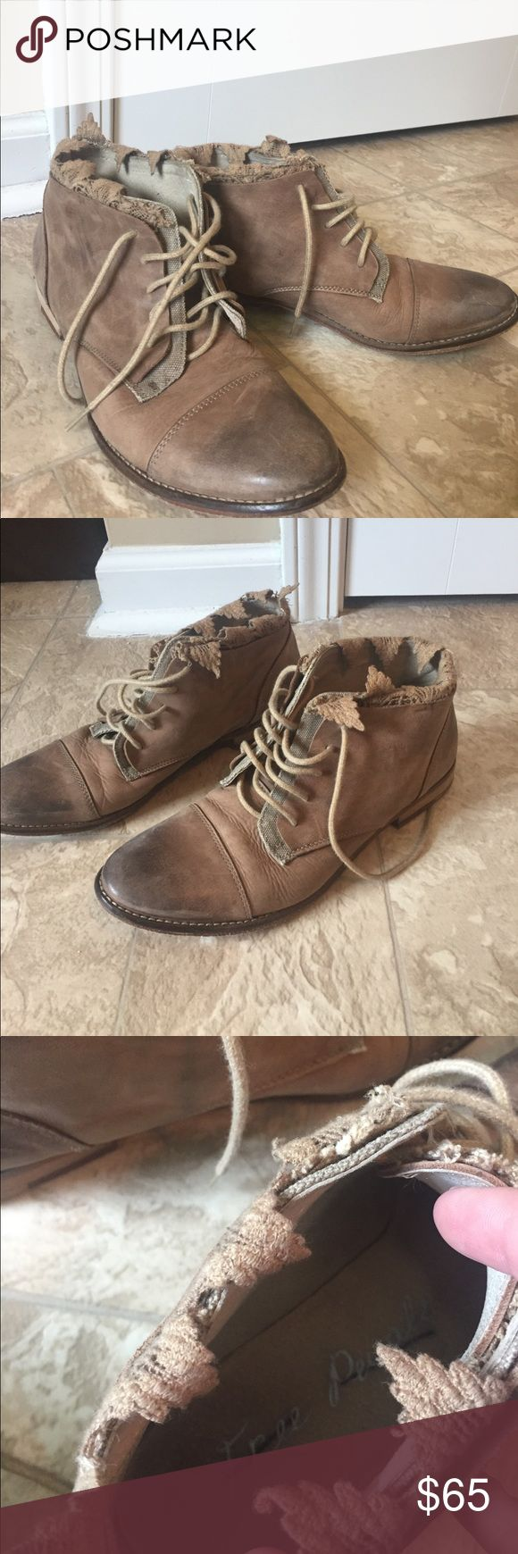 Free People Tan Distressed Lace Ankle Boots EUC, Free People Leather and Lace Ankle Boots Free People Shoes Ankle Boots & Booties