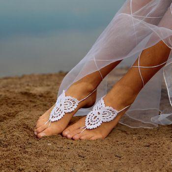 Вязание крючком босиком сандалии гладиатор лодыжки браслет пляж свадебное ног ювелирные изделия викторианской кружева вверх, йога обувь, свадебные ножной браслет AK0046-6