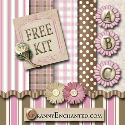 """FREE """"Pink-Brown"""" Digi Scrapbook Kit"""