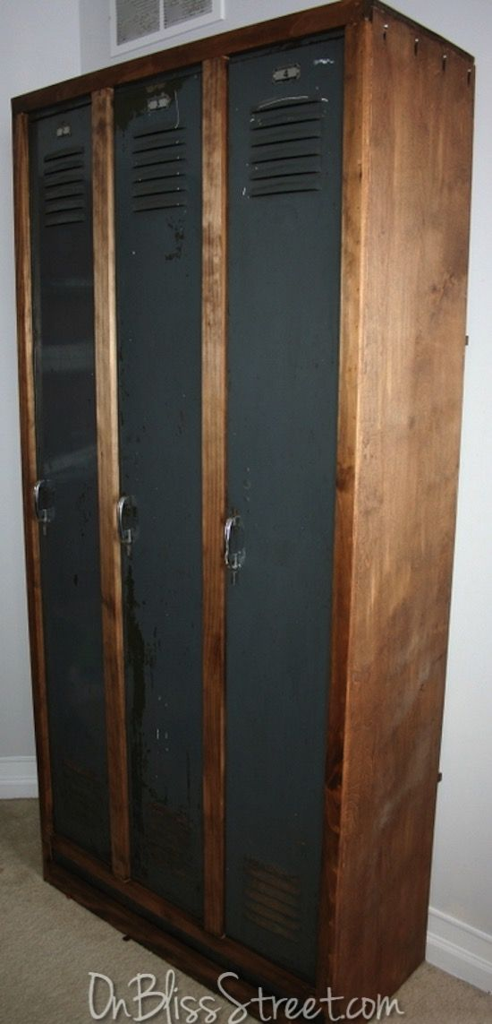 Pin for later! Old gray industrial lockers get a new life with a simple wood frame! Check out the before!