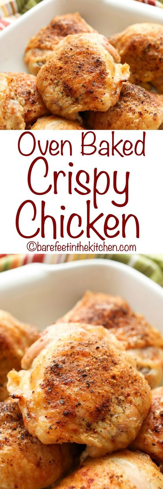 Oven Baked Crispy Chicken - with just 5 minutes effort! Get the recipe at barefeetinthekitchen.com