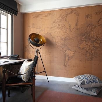 Antique Wold Map Wallpaper, Eclectic, Den/library/office, Oliver Burns