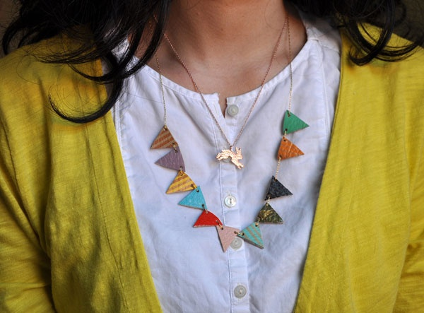 flag banner necklace with shrinky dinks or craft store clay.