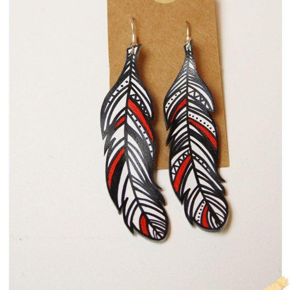 Boucles d'oreilles Plume motif géométrique Noir et Blanc Plastique Fou