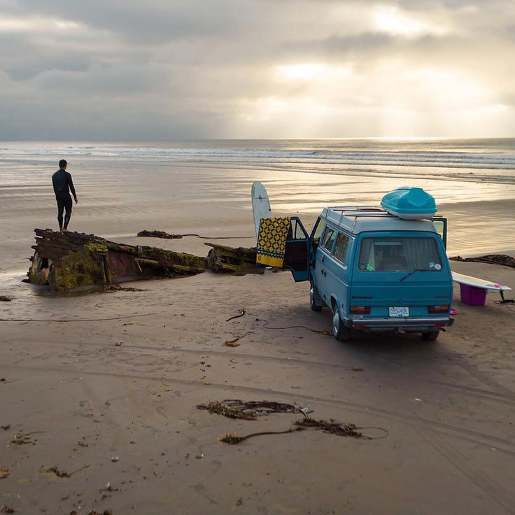 """Driving the North Beach of Haida Gwaii to find the perfect surf spot ."" Photo…"