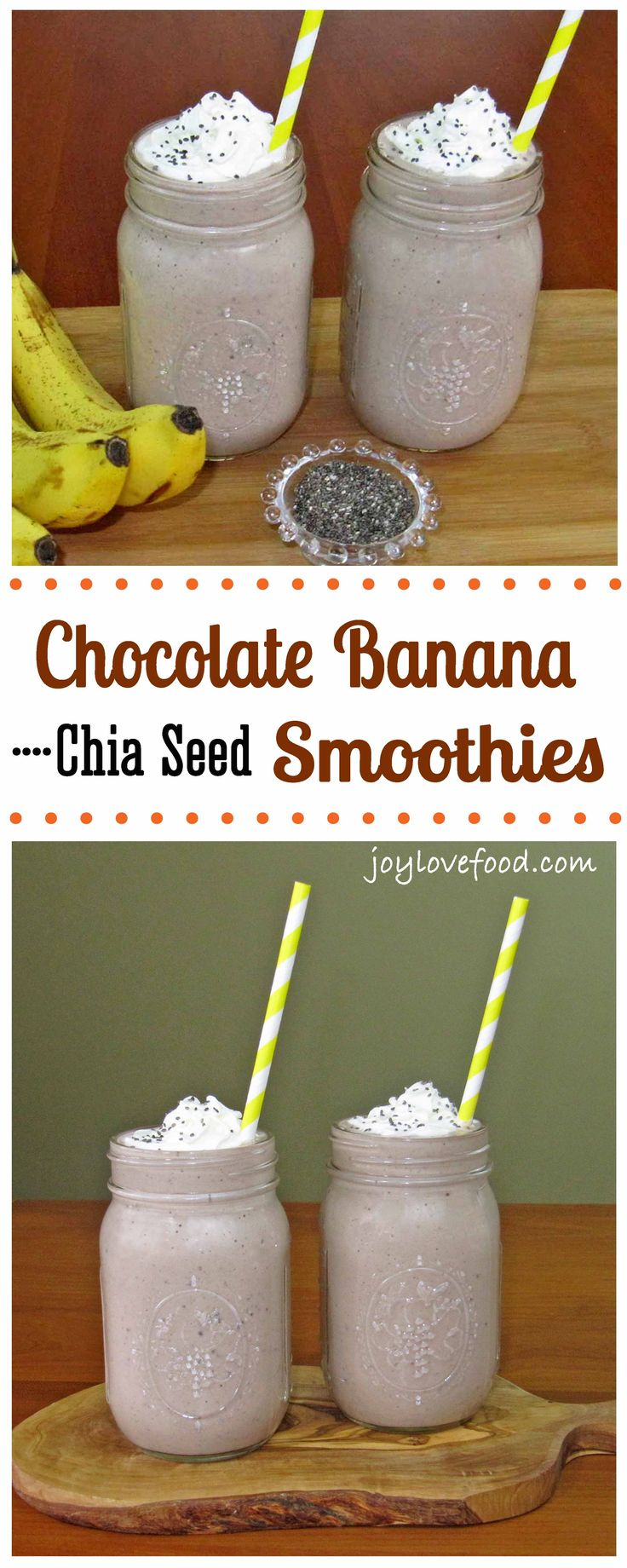 Chocolate Banana Chia Seed Smoothies
