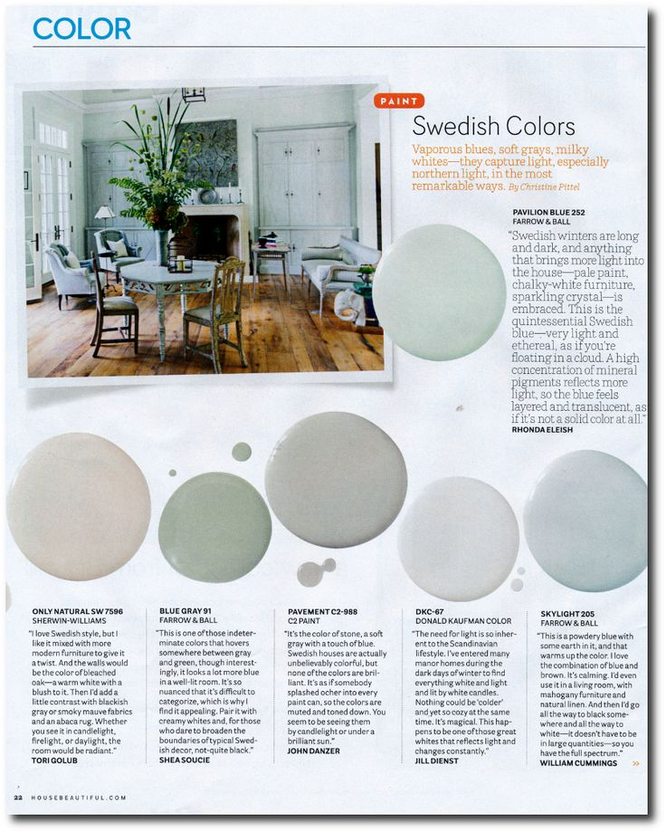 """12 Interior Designers Pick Their Favorite Swedish Paint Colors----Tori Golub suggests- """"Only Natural"""" SW 7596 From Sherwin- Williams"""