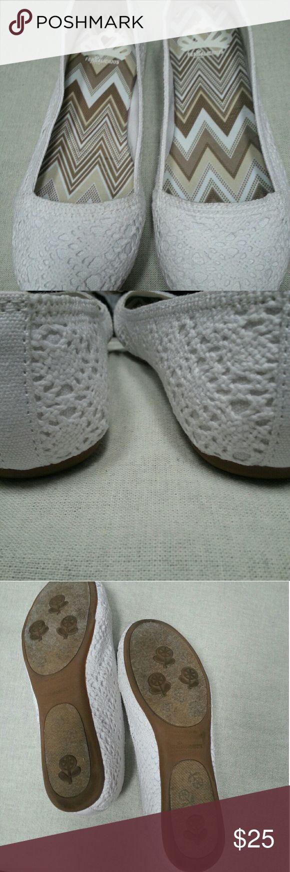 Fergalicious White slip on shoes White slip on shoes with crochet look Fergalicious Shoes
