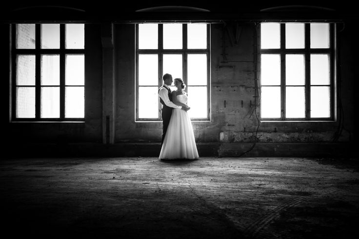 Industrial wedding portrait. Black and white.