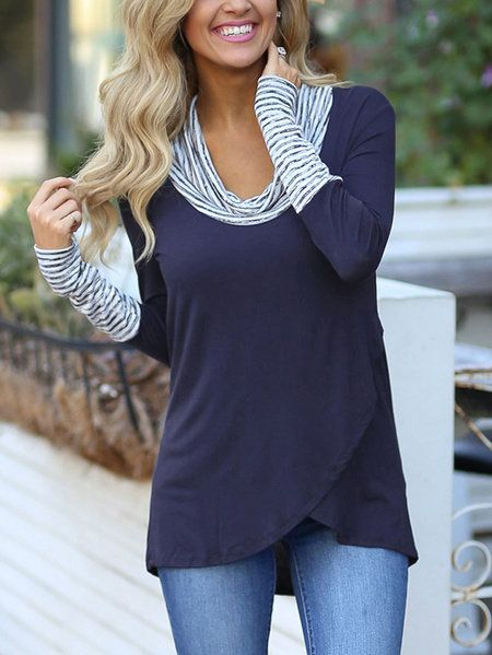 Navy Roll Neck Stripe Details Overlay Front T-shirts