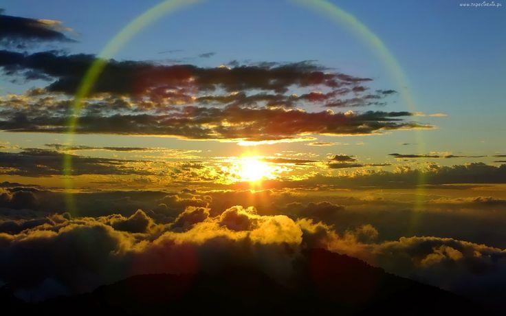 Góry, Chmury, Promienie, Słońca, Tęcza