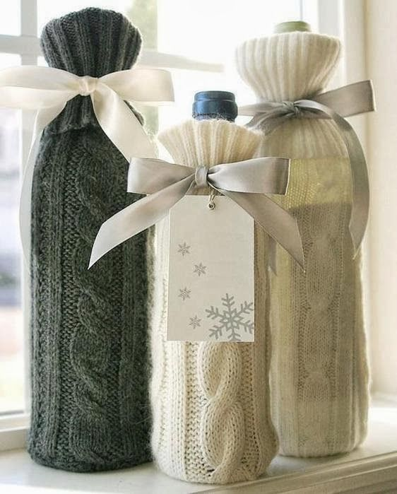 Winter Wine Gift Idea - recycled sweater sleeves!