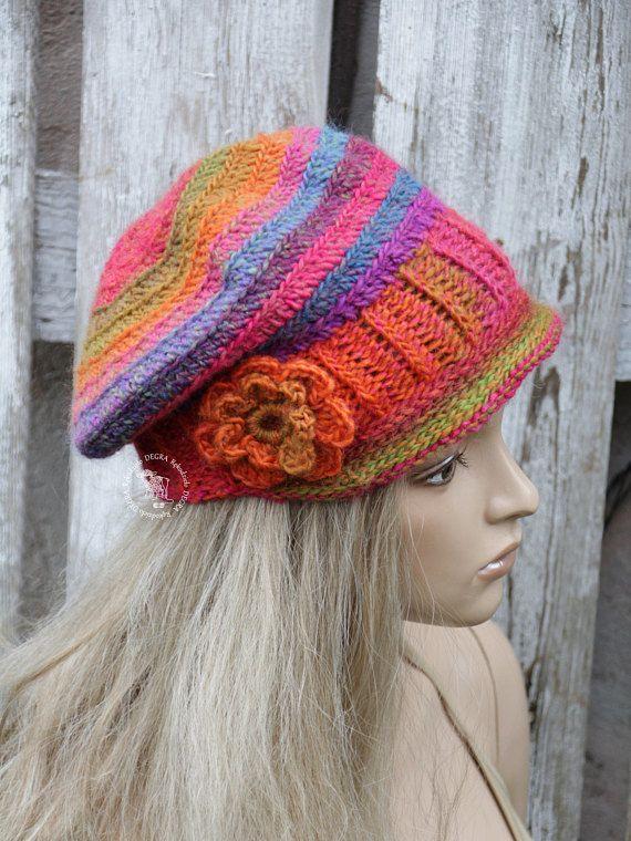 Crochet newsboy hat Crochet Peaked Hat Beanie Slouchy Women