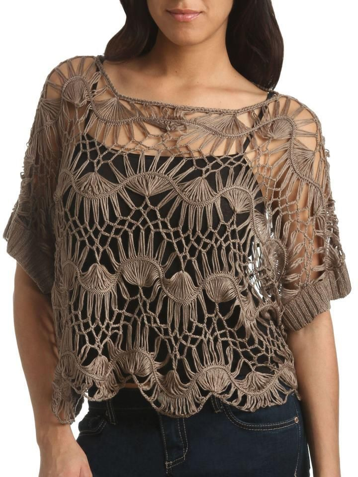grampo; crochet hairpin lace shirt Más