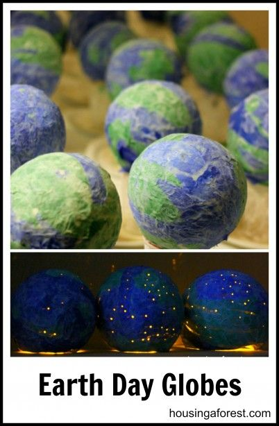 DIY light-up Earth Day globes ~ Fun Paper Mache Project for kids