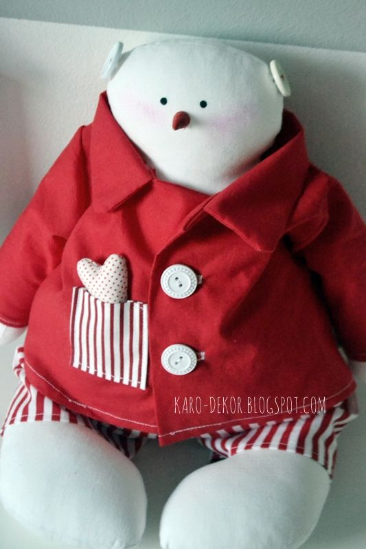 Large Snowman wth red pajamas