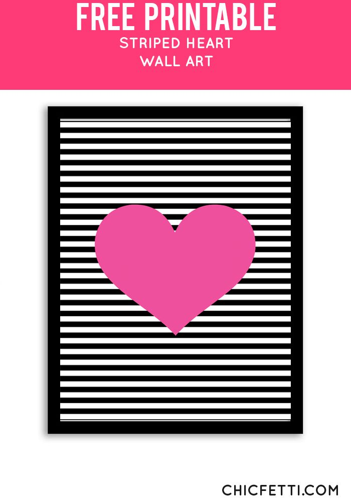 Free Printable Striped Heart Art from @chicfetti - easy wall art diy