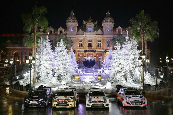 WRC @OfficialWRC 13m  1st time ever in the same photo? Ford, Citroen, VW & Hyundai WRC Cars abreast outside the Casino in Monaco last night
