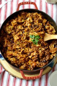 One Pot Pasta: Black Bean Taco Skillet is a quick and easy one pot meal. It is a 35 minute skillet meal perfect for a busy weeknight. It is also dairy free and can be made with gluten free pasta.