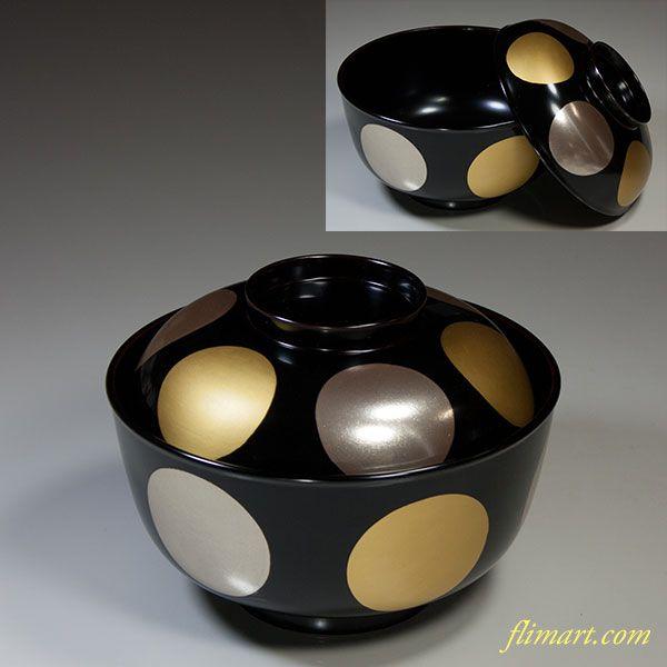 木製漆器金銀日月煮物椀五客セット