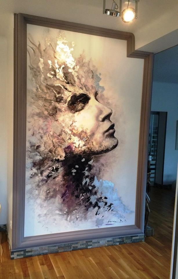 Reflexii sidefate in tehnica mixta ,pictura direct pe perete...
