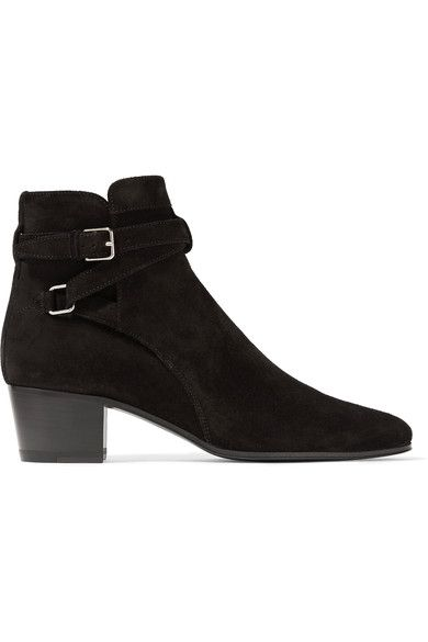 Saint Laurent - Blake Suede Ankle Boots - Black - IT39.5