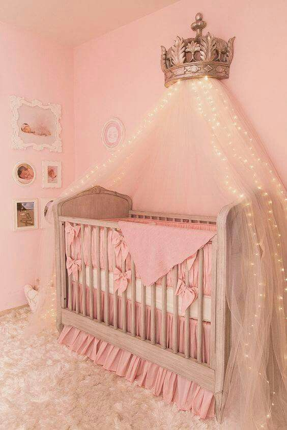 Omg i love this canopy with the lights and crown not the for Diy canopy over crib