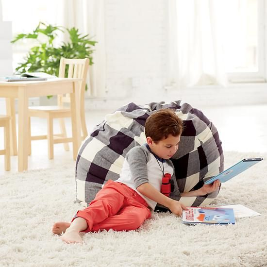 """Shop 40"""" Buffalo Check Bean Bag Chair.  Okay, kid.  Have a seat.  Your Buffalo Check Bean Bag Chair is here.  With cotton flannel construction, they're our comfiest bean bags ever.  And now our Bean Bag Chairs can be personalized with a child's name."""