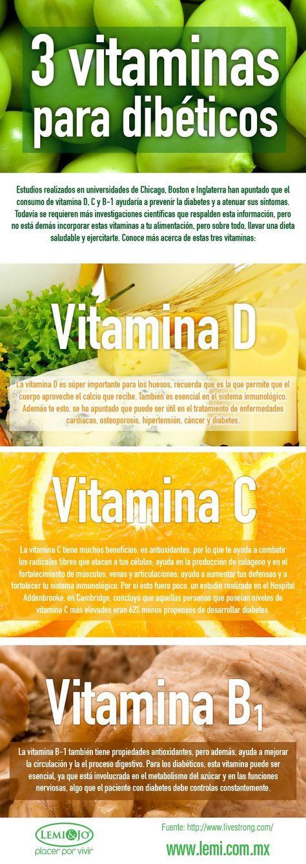 3 vitaminas beneficiosas para los diabéticos. #diabetes #infografía #vitaminas