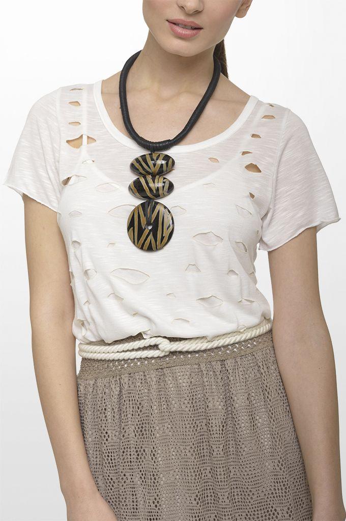 Sarah Lawrence - short sleeve laser cut blouse, lace maxi skirt, belt, necklace.