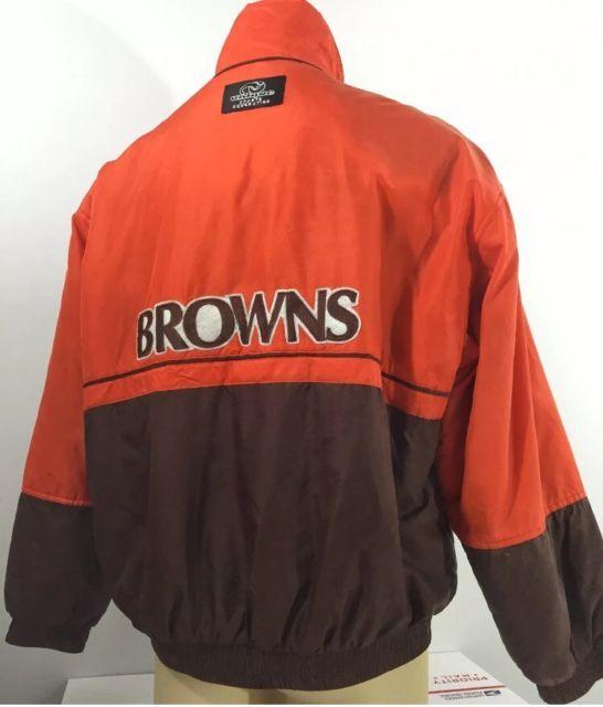 NFL Brown's Windbreaker Jacket Mens Large Vintage Football Silk Coat | eBay