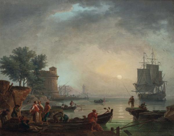 "Claude Joseph Vernet (Avignone 1714 - Parigi 1789), Veduta costiera - olio su tela,[...], mis en vente lors de la vente ""Maîtres Anciens (Gênes)"" à Cambi Casa d'Aste | Auction.fr"