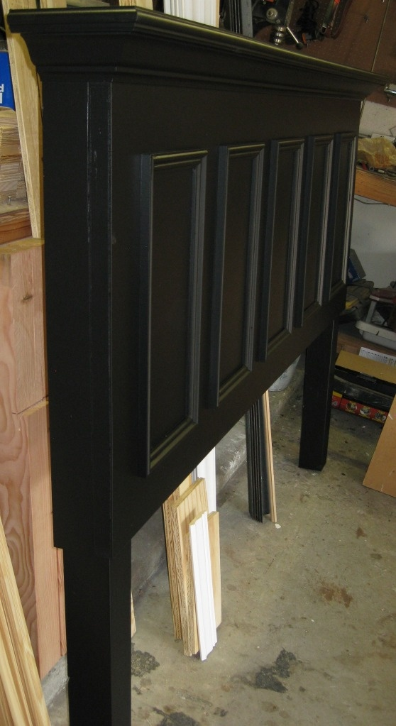 5 panel door converted into a king size headboard - finished in satin black. Contact us at 972.668.2603 to place your orders.