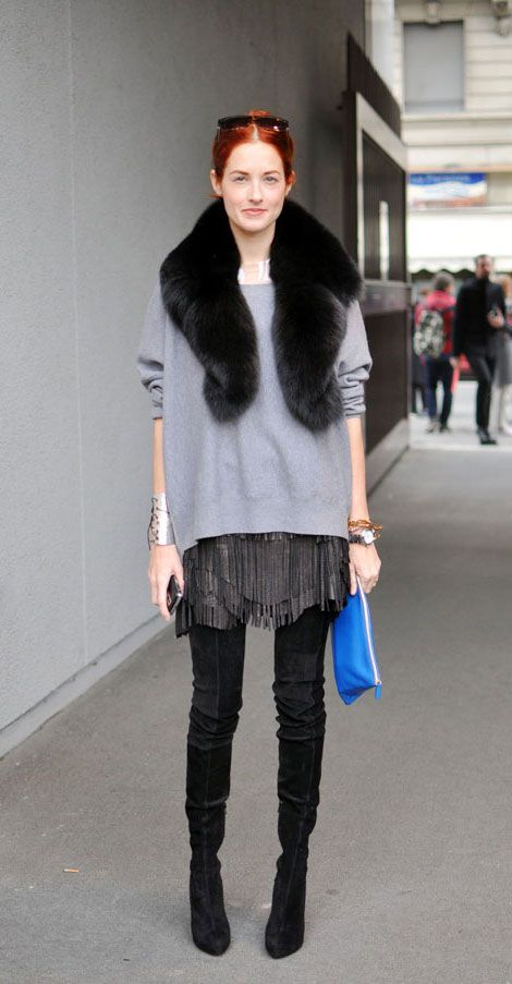 The only way I'd wear a fur stole is if I worked this look.   Taylor Tomasi Hill | Statement Street Style