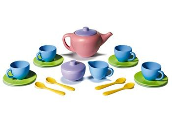 Recycled plastic tea set-Role play and dramatic play-Colourful sustainable tea set-Tea pot saucers cups and spoons- Early childhood educational resources.