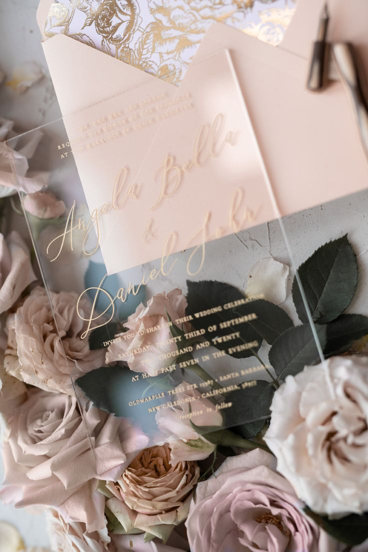 Acrylic Transparent Wedding Invitations Gold Vellum Roses Wrap Glitter Envelope with Peach Flowers Wax Seal 1/PAZGOL/Z ,  Rose P