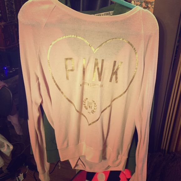 Bling vs pink jumper crew oversized Light pink and gold so cute I think this is a size med PINK Victoria's Secret Sweaters Crew & Scoop Necks