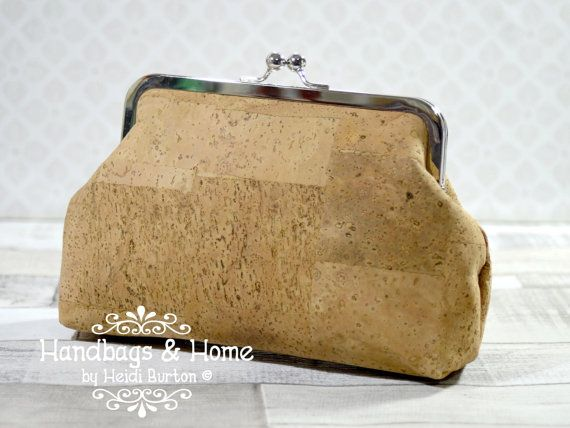 Cork Fabric clutch bag by HandbagsandHome on Etsy
