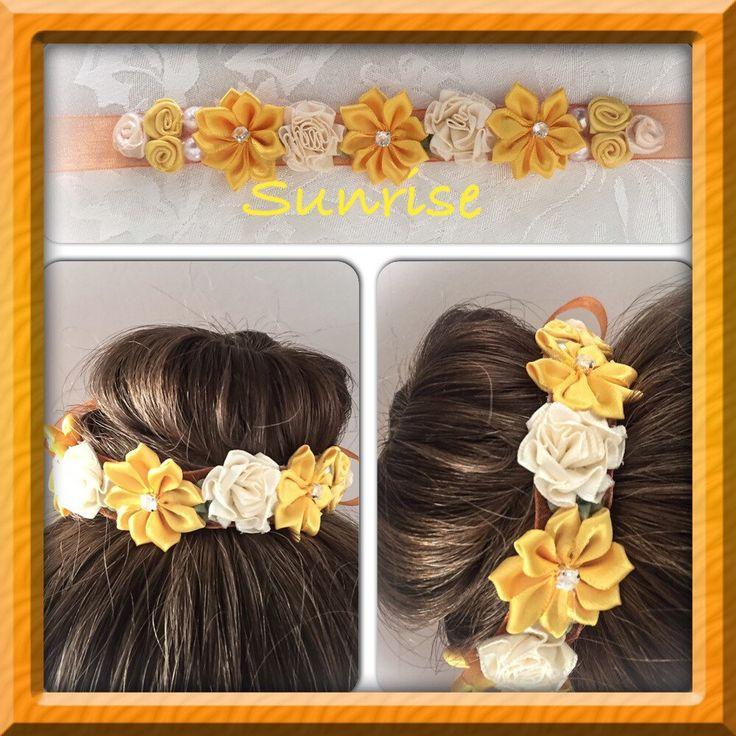 A personal favorite from my Etsy shop https://www.etsy.com/ca/listing/274006652/sunrise-flower-ribbon-bun-wrapflower-bun