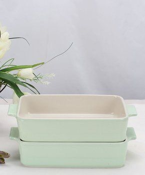 Pastel Green Rectangular Baking Pan - Set of Two