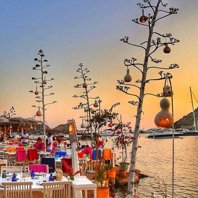Bodrum'un denize sıfır, şık restoranları.. Fotoğraf: @can_hasasu ⚓#gümüşlük #bodrum #muğla