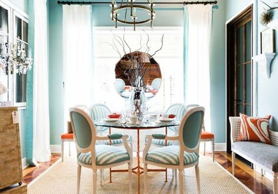 #turquoise #orange dining room
