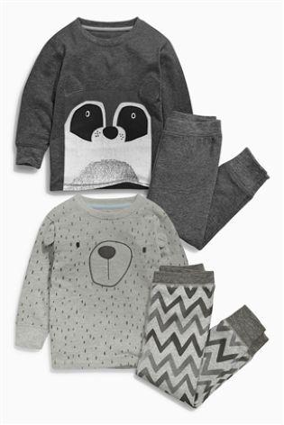 Acheter Lot de deux pyjamas douillets gris motif raton laveur (9 mois - 8 ans) disponible en ligne dès aujourd'hui sur Next : France