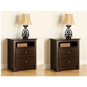 Edenvale 2-Drawer Tall Espresso Nightstand With Open Cubbie, Set of 2: Furniture : Walmart.com