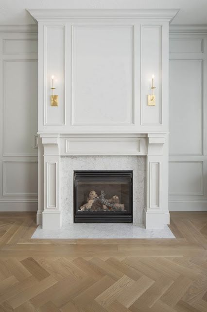 Chevron pale floor with substantial fireplace