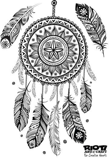 dreamcatcher coloring page - Dream Catcher Coloring Pages