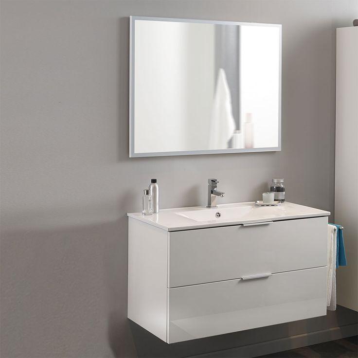 Badmöbel Set Mit Waschtisch Und Spiegel Hochglanz Weiß (2 Teilig) Jetzt  Bestellen Unter