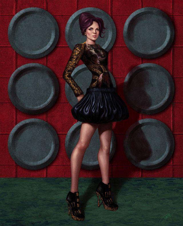 """Virna in Mcqueen"" (Virna Lisi) by Patrick Yeung   | PatrickVDK on http://Shadowness.com/patrickvdk #virna #lisi #portrait #digital #concept #art"